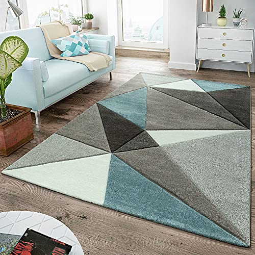 TT Home Alfombra Salón Moderna Pelo Corto Contorneado Diseño Triángulos...